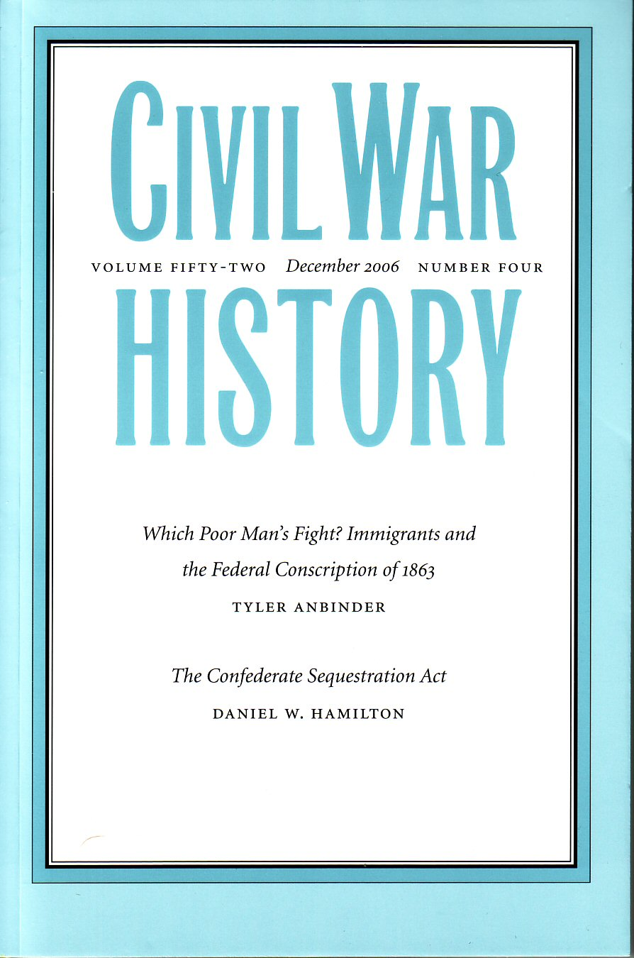 Civil War History, Volume 52, Number 4 (December 2006)
