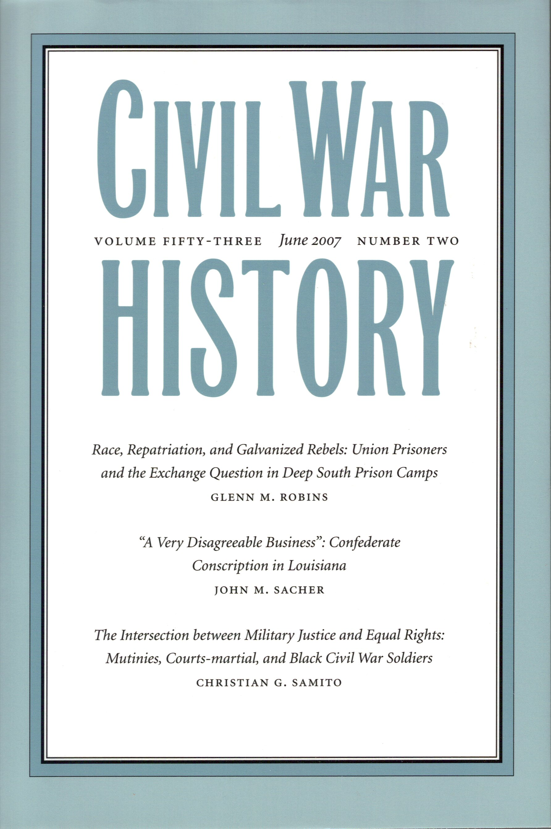 Civil War History, Volume 53, Number 2 (June 2007)