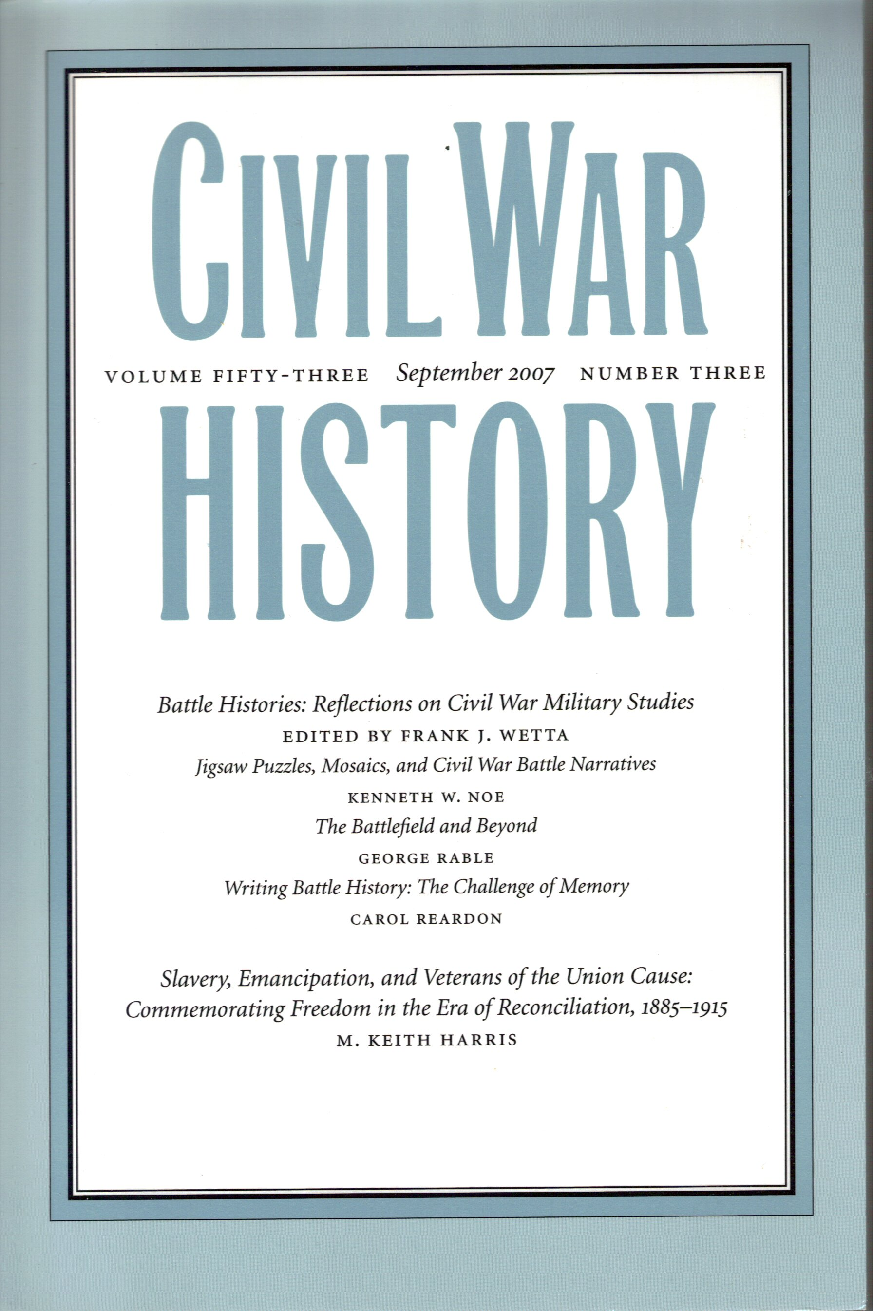 Civil War History, Volume 53, Number 3 (September 2007)