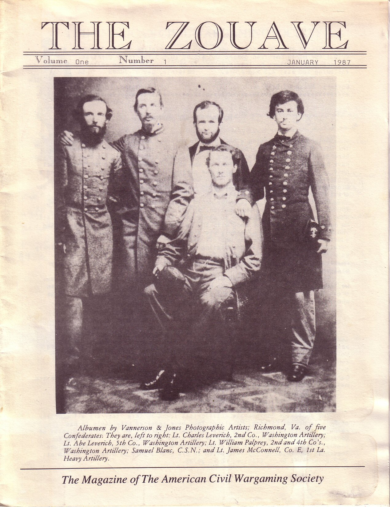 Zouave, Volume 1, Number 1 (January 1987)
